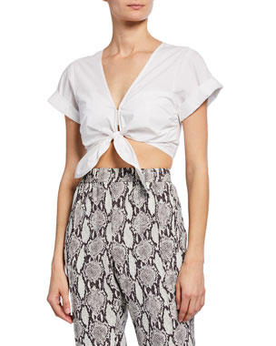 8452bf02d08 A.L.C. Levine Short-Sleeve Tie-Front Crop Top