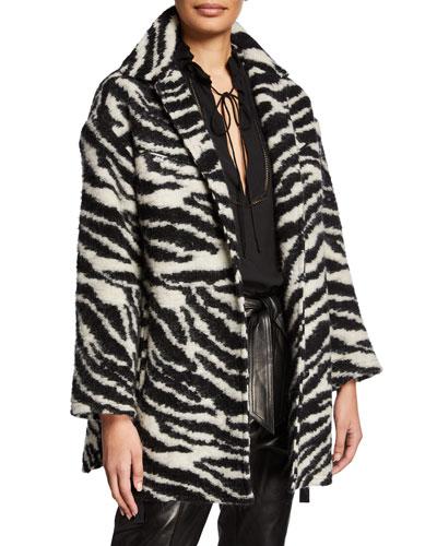 Bera Zebra-Print Single-Breasted Coat