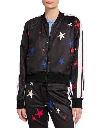 Star Side-Stripe Raglan-Sleeve Crop Track Jacket