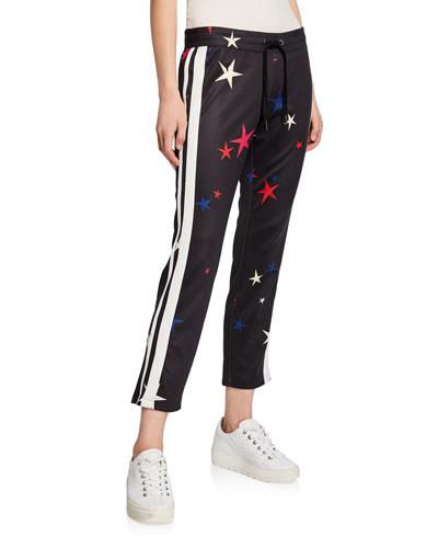 Stars Side-Stripe Drawstring Crop Track Pants