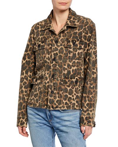 Leopard-Print Stretch-Cotton Army Shirt