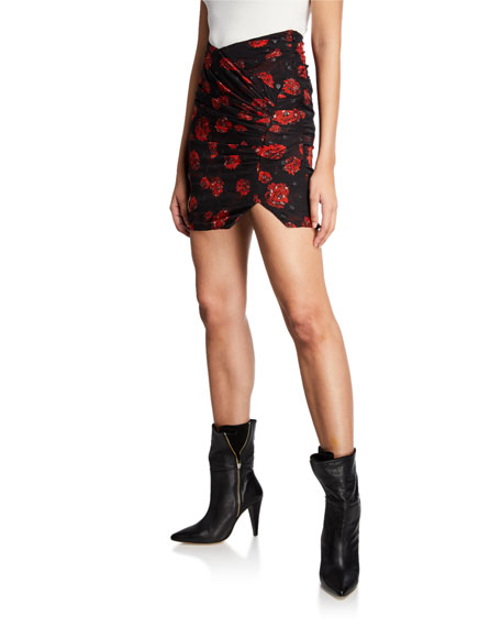 Iro Bootab Floral Ruched Mini Skirt