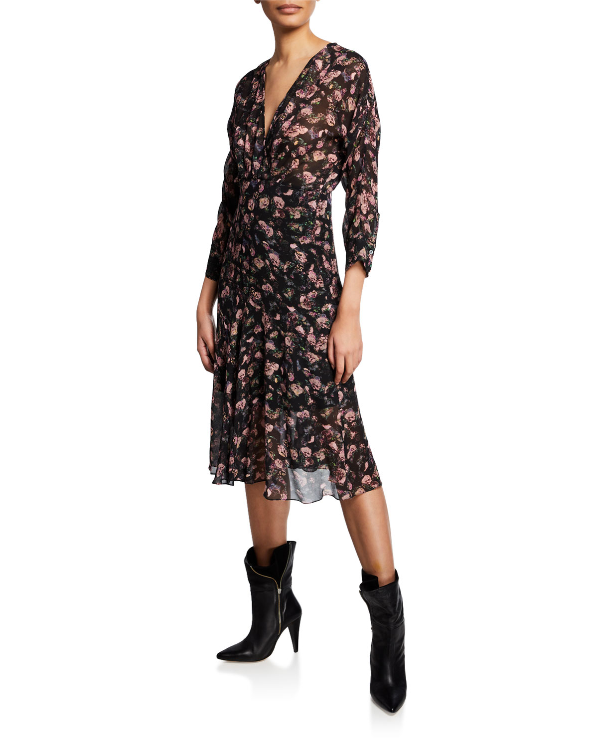 Temper Floral Print Midi Dress by Iro