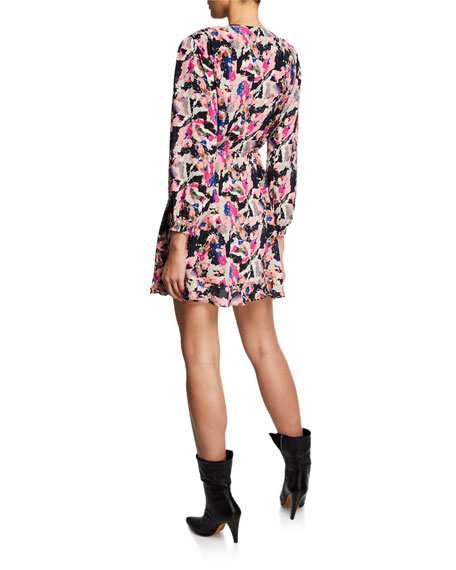 Image 2 of 2: Iro Bloomy Printed Long-Sleeve Wrap Dress