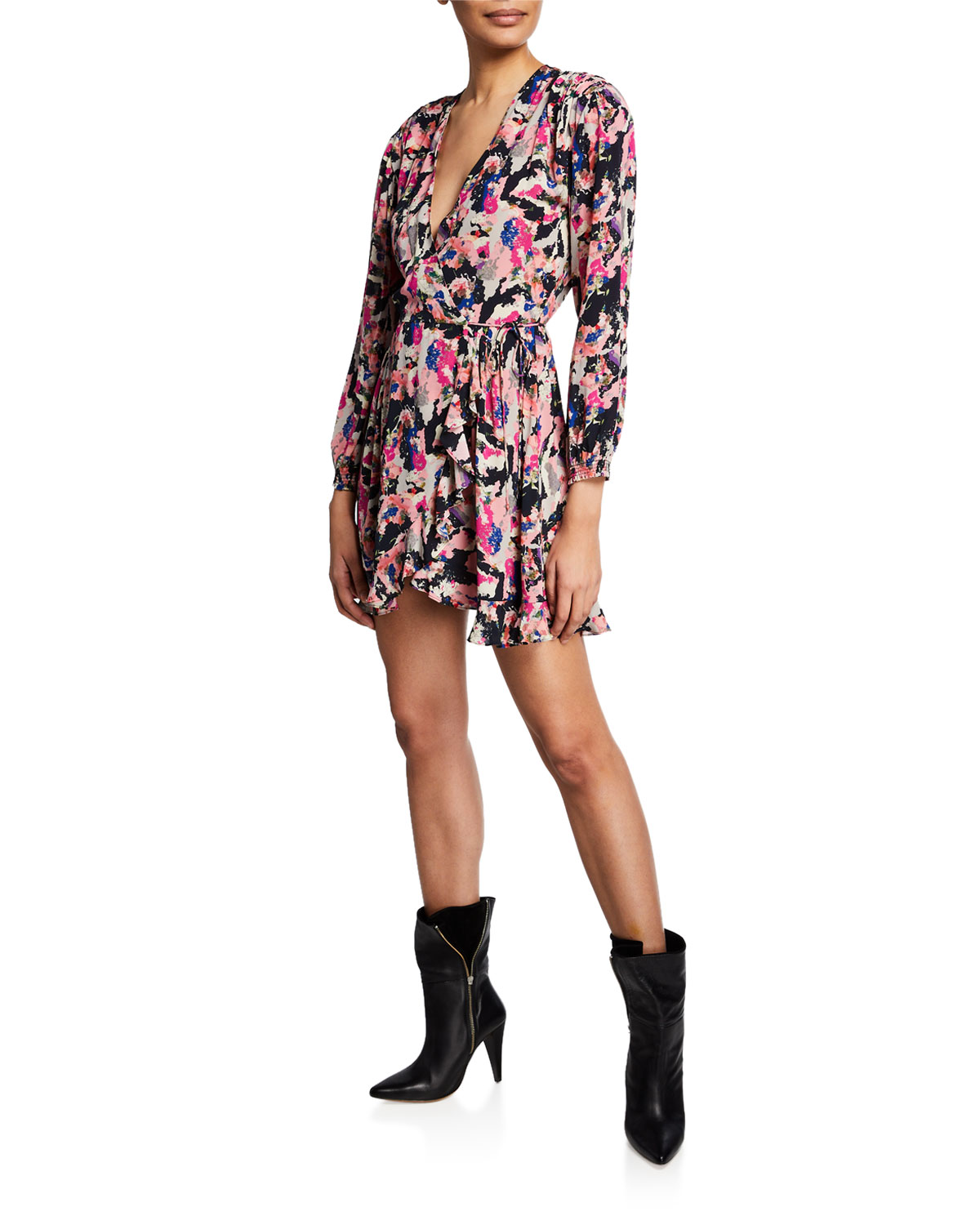 Iro Bloomy Printed Long-Sleeve Wrap Dress
