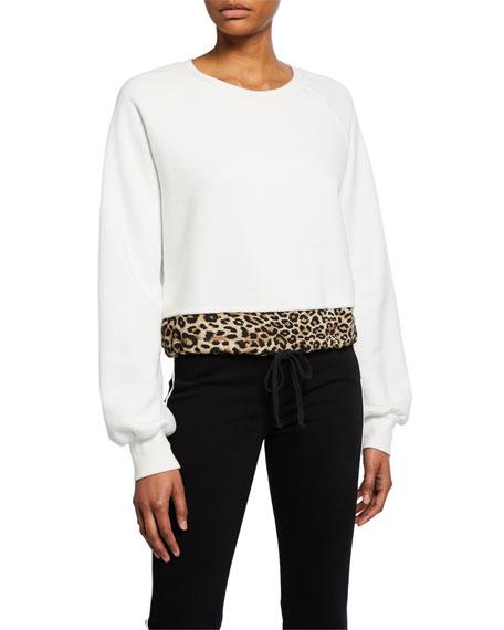 Pam & Gela Crewneck Cotton Sweatshirt with Contrast Hem