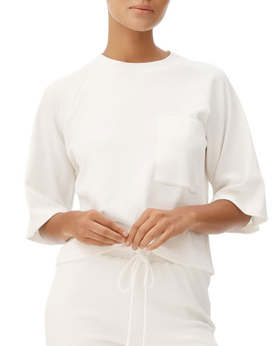 Lyla Elbow-Sleeved Ribbed Tee