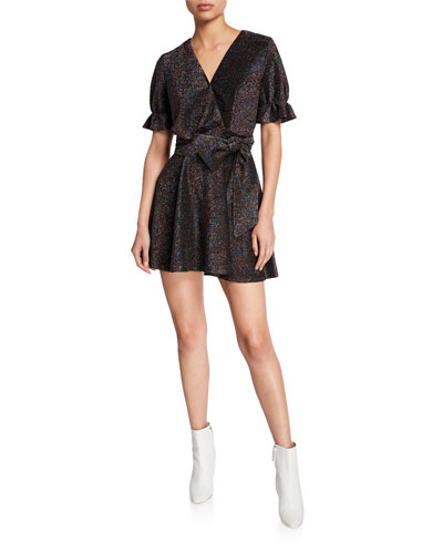 Millenia Metallic Short-Sleeve Mini Dress with Bow
