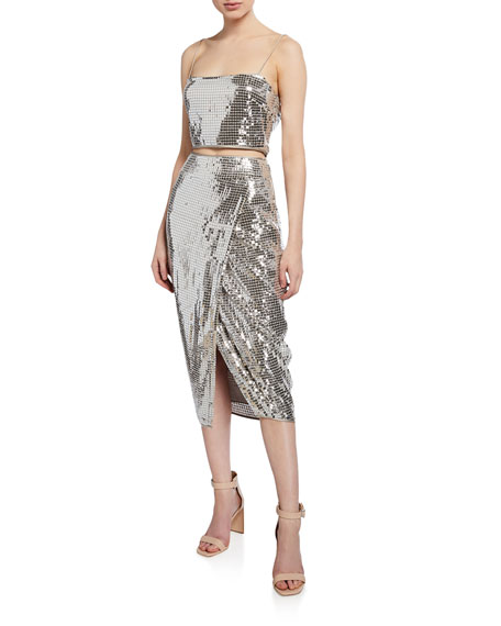 Saylor GIAVANNA TWO-PIECE SEQUIN DRESS SET W/ CROP TOP & SKIRT