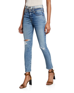 8fd3c6ea502 Hudson Holly High-Rise Straight Ankle Jeans with Double Waistband
