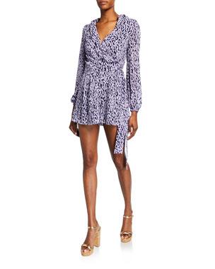 1abdd97be514 MICHAEL Michael Kors Printed Blouson-Sleeve Ruffle Wrap Jumpsuit
