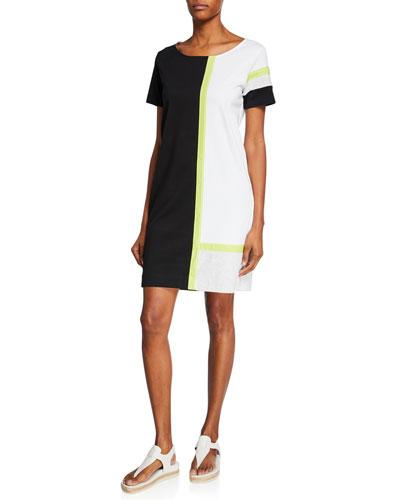 Tricolor Colorblock Scoop-Neck Short-Sleeve Dress
