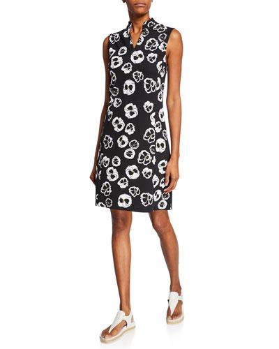 Floral-Printed Sleeveless Stretch Pique Dress