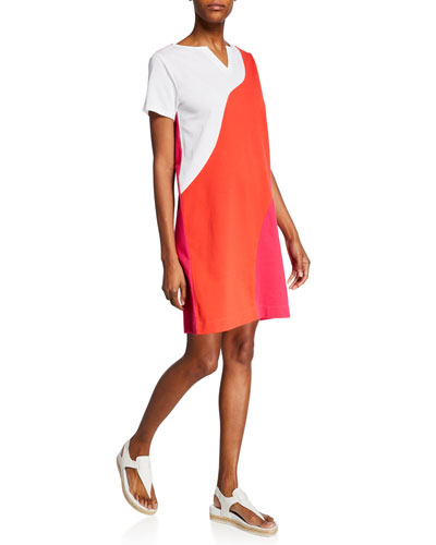 Wave Colorblock Slit-Neck Short-Sleeve Stretch-Pique Dress