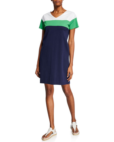 Sequined-Top Colorblock Short-Sleeve Dress