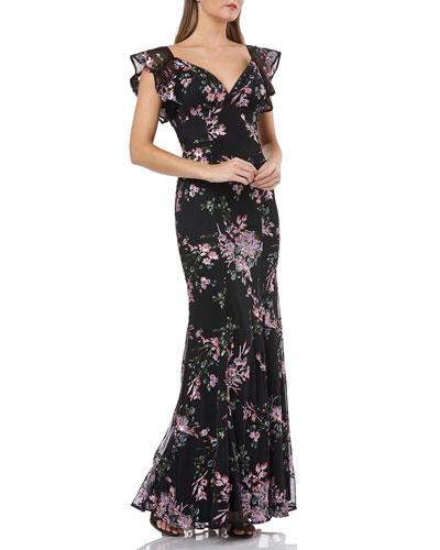 Sequin Floral-Motif Flutter-Sleeve Gown