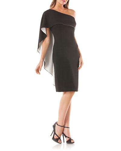 One-Shoulder Cocktail Dress w/ Satin-Lined Capelet