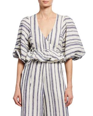 c9bd15fc0 Shona Joy Bautista Striped Puff-Sleeve Cropped Linen Wrap Top