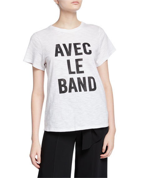 cinq a sept With The Band Short-Sleeve Slogan Tee
