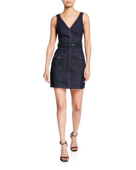 cinq a sept gwyneth sleeveless mini denim dress