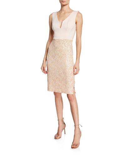 Brianna V-Neck Sleeveless Sequin-Skirt Cocktail Dress