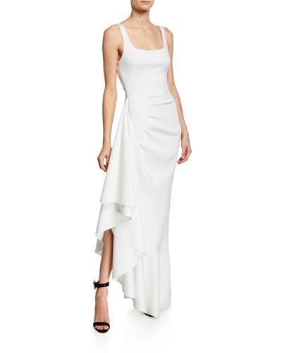 Jewel Sleeveless Asymmetric Ruffle-Hem Gown