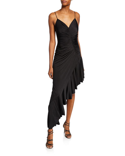 Sweetheart Spaghetti-Strap Shirred Asymmetric Dress