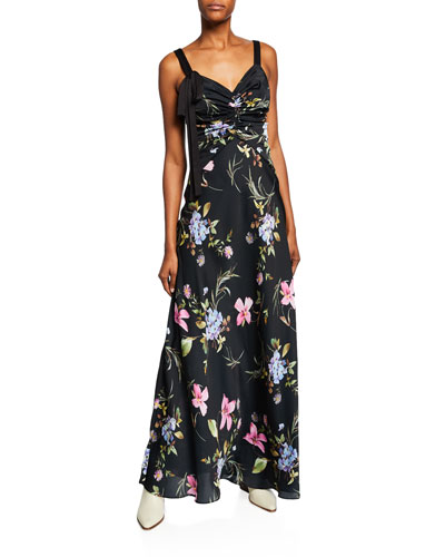 Floral-Print Sleeveless Satin Gown with Tie Detail