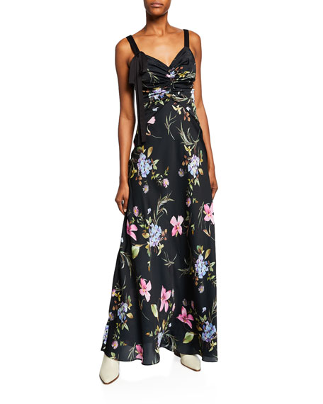 Jill Jill Stuart FLORAL-PRINT SLEEVELESS SATIN GOWN WITH TIE DETAIL