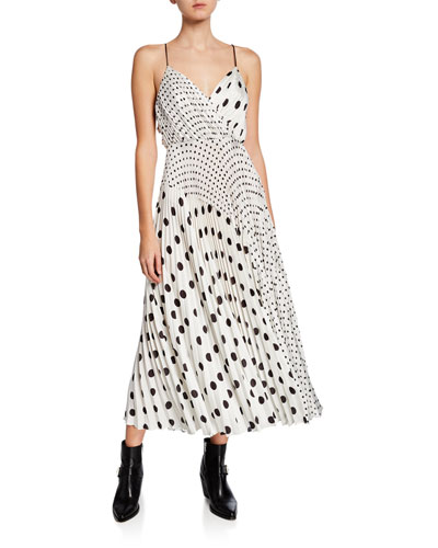 Mixed Polka Dot Print Sleeveless Satin Charmeuse Dress