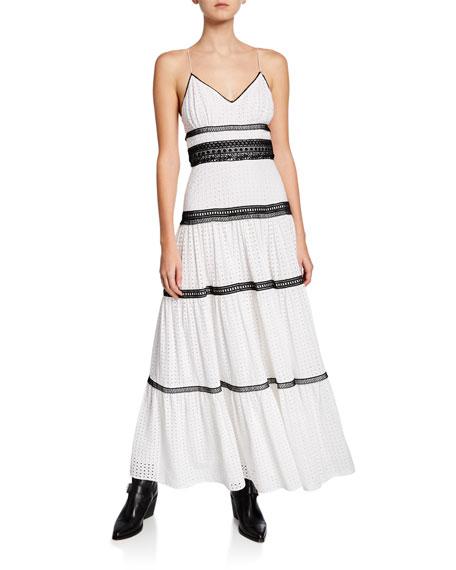 Jill Jill Stuart Dresses V-NECK SLEEVELESS COTTON EYELET DRESS W/ CONTRAST TRIM