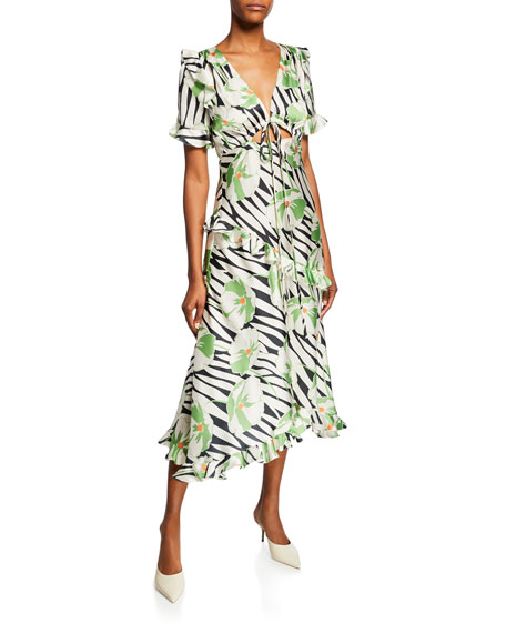 Jill Jill Stuart FLORAL-PRINT SHORT-SLEEVE SATIN RUFFLE DRESS WITH CUTOUT