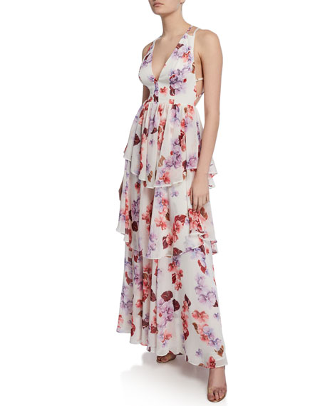Fame And Partners Dresses FLORAL-PRINT PLUNGE-NECK STRAPPY-BACK TIERED GEORGETTE DRESS