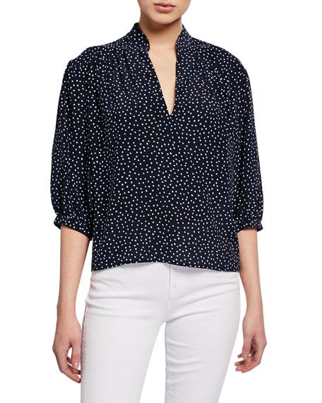 FRAME Cali Dot-Print Silk 3/4-Sleeve Top