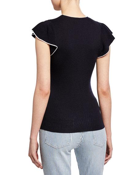 FRAME True Feminine Ribbed Flutter-Sleeve Sweater