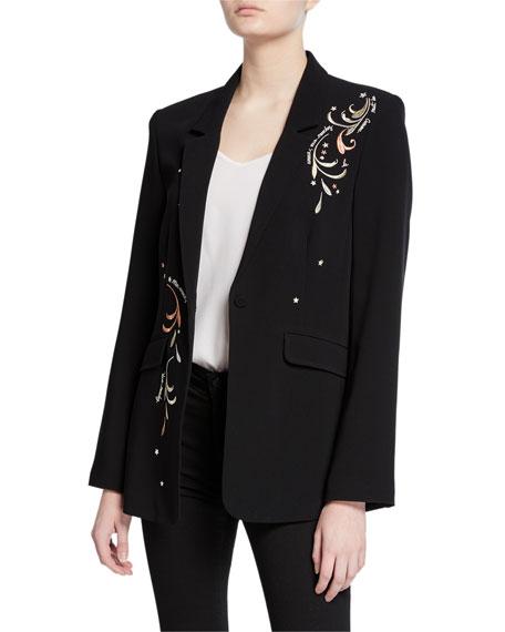 cinq a sept estelle embroidered one-button crepe blazer