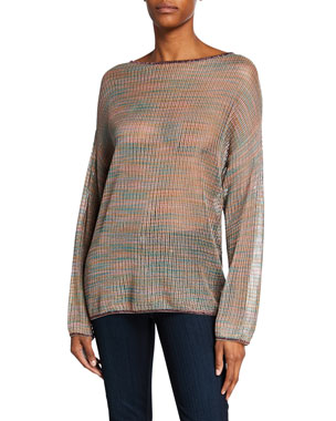 a8f79ecc1847 M Missoni Long-Sleeve Space-Dye Mesh Tunic w  Metallic Trim