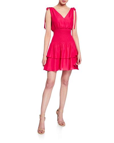 Violina Shoulder-Tie Smocked Mini Dress