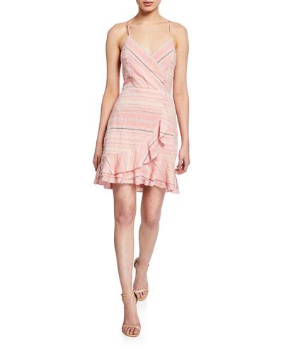 Jay Striped Cotton Flounce Short Dress
