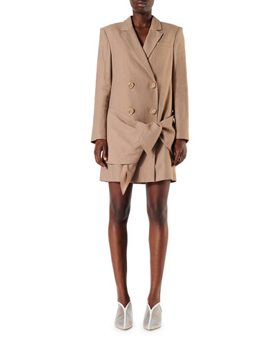 Linen-Viscose Blazer Dress with Removable Tie