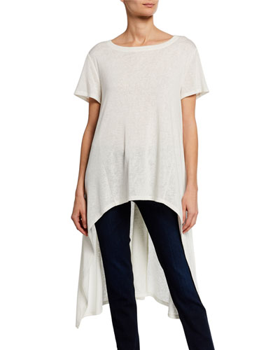 Boat-Neck Short-Sleeve High-Low Slub Tee