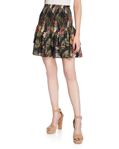 Amari Smocked Floral Tiered Flounce Skirt
