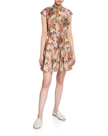 Rebecca Minkoff Ollie Floral Cap-Sleeve Shirtdress