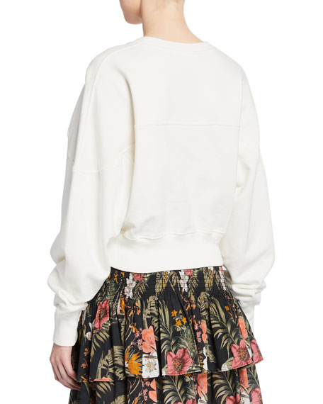 Rebecca Minkoff Ruby Tropical Love Applique Cotton Sweatshirt
