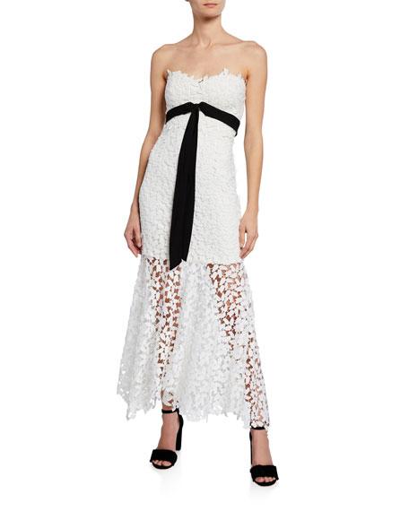 Bardot Dresses MIDI LACE STRAPLESS BOW DRESS