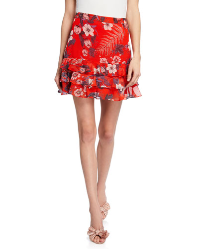 Floral Rah Rah Short Skirt
