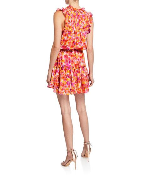 MISA Los Angeles Aila Watercolor Tie-Neck Blouson Ruffle-Trim Mini Dress