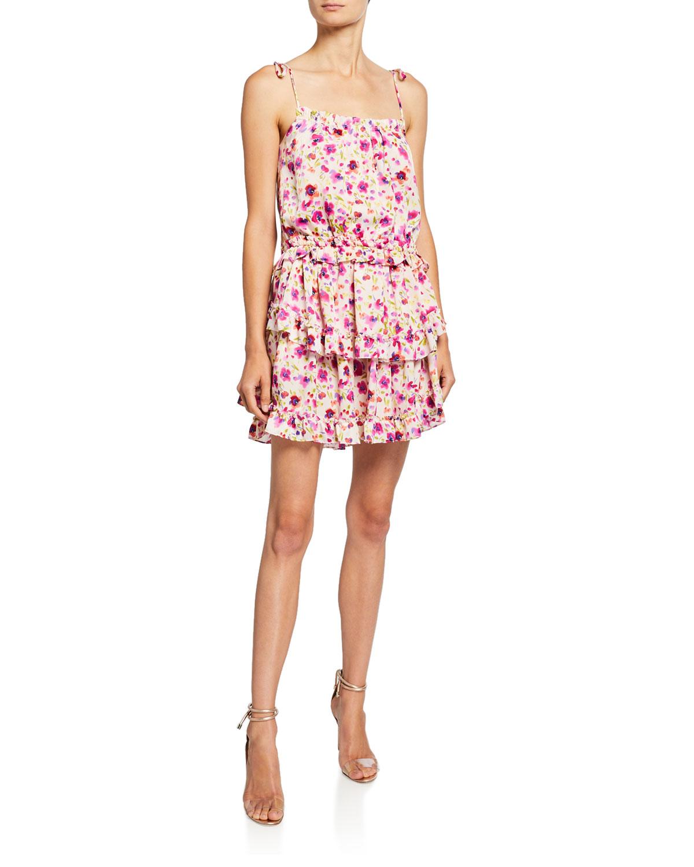 Eliana Tiered Floral Print Short Dress by Misa Los Angeles