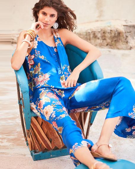 bcfbda4ddcd34f Image 2 of 3  Vivian Floral-Print Button-Front Sleeveless Silk Twill  Jumpsuit