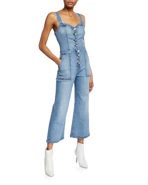 23d880b9aad80d 7 for all mankind Sweetheart Cropped Denim Corset Tank Playsuit